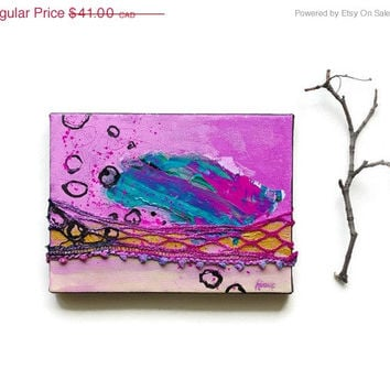 Sale Mixed media Painting on small canvas - Pink Art Decor with iridescent shine 6x8