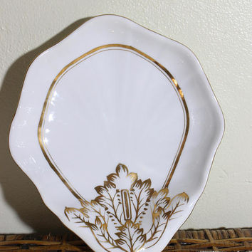 Porcelain Trinket Dish, Decorative White and Gold Porcelain Serving Tray G601 W/G
