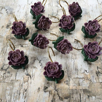 Vintage Purple Rose Shower Curtain Hooks Jewelry Holder Hooks Shabby Chic Cottage Rustic Decor Folk Victorian Shower Curtain Rings Country