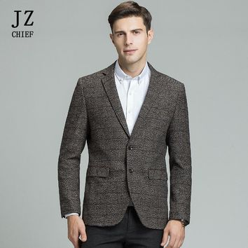 JZ CHIEF Men's Wool Blazer Striped Jacket Elbow Patch Blazer High Quality Tweed Blazers Coat Business Casual Overcoat Plus Size