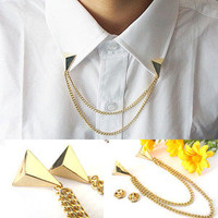 Hot Stud Shirts Collar Neck Tip Brooch Decor Punk Gothic Pin Chain Necklace Sale