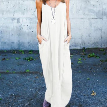 Women's Flowy White Spaghetti Strap V-Neck Comfy Cozy Casual Summer Maxi Dress with Pockets