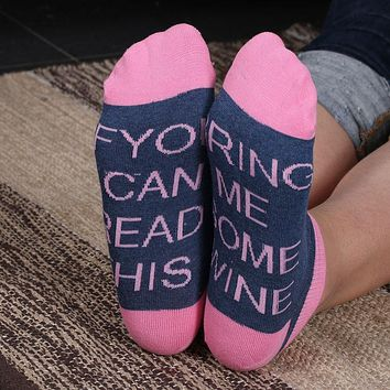 Printed Socks Humor Words If You can read this Bring Me a Glass of Wine/Beer Creative Funny Socks Calcetines Mujer Chaussettes