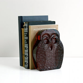 Vintage Mid Century Modern Blenko Amber Glass Owl Bookend