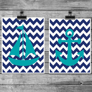 Boys bedroom art Sailboat art print Ships anchor poster Nautical nursery Modern Nursery Wall decor Navy blue and teal Bold chevron print