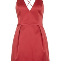 PETITE Plunge Neck Satin Dress - Red