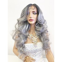 """Gray Silver Ombré SWISS Lace Front Wig 22"""" with 360' multi parting 619"""