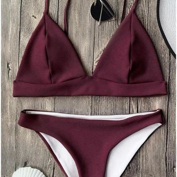 C| Chicloth Solid Brazilian Push Up Padded Bikini Set