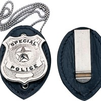 1 X Clip on Leather Badge Holder W/Silver Chain ***BADGE NOT INCLUDED***