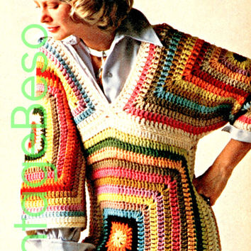 2 Patterns Granny Square CROCHET PATTERN Instant Download Pdf Hippie Boho Granny Square Triangle Pullover Top 1970s Vintage Beso
