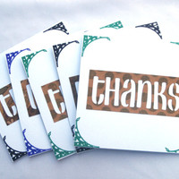 Thank You Card Set, Thank You Notecards, Handmade Thanks, Floral, Set of 5