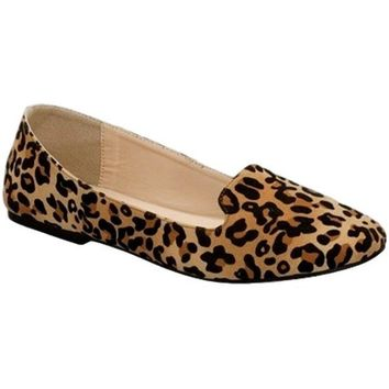 Almond Toe Trendy  Flats, Leopa