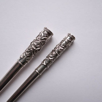 Best Men's Gift - Set Of Rose Pure Sterling Silver Cigarette Holder - Hot Sale - Vintage Jewelry Style - Antique Style - Free Shipping