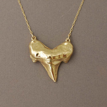 Double Connected Gold Shark Tooth Necklace
