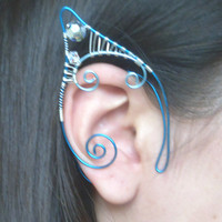 Blue & Silver Plated Handmade Wire Wrapped Elf Ear Cuffs With Aurora Borealis Coated Clear Swartovski Elements. Mermaid Ear Cuffs