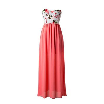 Morning Garden Maxi Dress - Coral