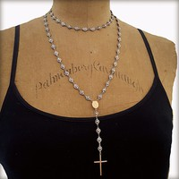 Oxidized Silver 14K Gold Cross Rosary Necklace, Feminine Edgy Jewelry