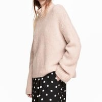 Knitted wool-blend jumper - Powder pink - Ladies | H&M GB