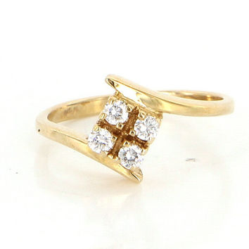 Vintage 14 Karat Yellow Gold 4 Diamond Pinky Ring Fine Estate Jewelry Pre-Owned