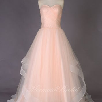 Romantic A line Simple Blush Wedding dresses Wedding gowns, blush prom dress, prom gowns with sweetheat neckline
