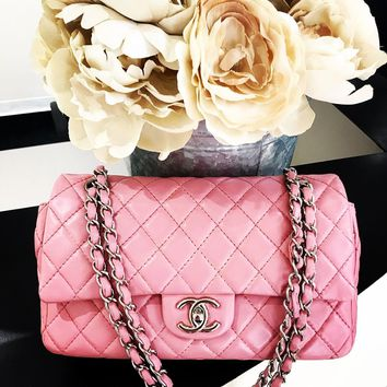 Chanel 2.55 Pink Leather Double Flap Bag Purse Silver Chain