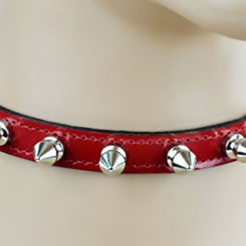 "Red Patent Leather PVC Thin 1/2 Choker Necklace with 1/2"" Spikes Skinny Collar"