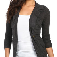 Ruched Sleeve Knit Blazer | Shop Jackets at Wet Seal
