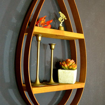 Danish Modern Bentwood Teardrop Hanging Shelf, Mid Century Home Decor, Danish Modern Tear Shelf