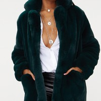 Emerald Green Premium Faux Fur Coat