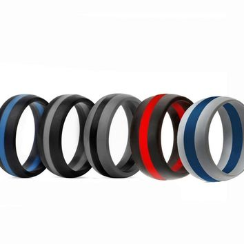Men Women Wedding Ring Rubber Silicone Band Active Sport Gym Fashion Gift
