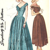 Simplicity 1940s Sewing Pattern 2283 Debutante Ball Gown Formal Dress Evening Length Sweetheart Neck Gathered Bust Full Skirt Bust 34