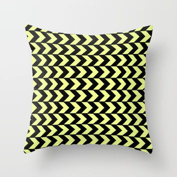 Graphic Geometric Pattern Minimal 2 Tone Arrow Triangles (Neon Yellow & Black) Throw Pillow by AEJ Design