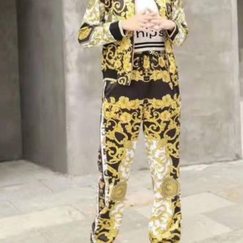 Woman's Leisure Fashion Letter Printing Spell Color Long Sleeve Trousers Two-Piece Set Casual Wear