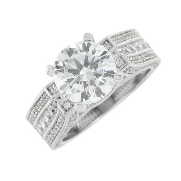 Channel Set Wedding Ring Round Cut Solitaire Simulated Diamonds 925 Silver Women