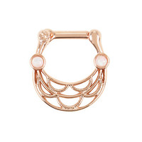 Steel Rose Gold Opal Double Layer Septum Clicker