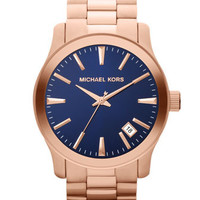 Michael Kors Oversize Rose Golden Stainless Steel Runway Three-Hand Watch - Michael Kors