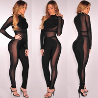 2016 New design top lace rompers full sleeve women sets black sexy club wear BJ1031