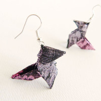 Lamé origami earrings fairy colors purple and pink