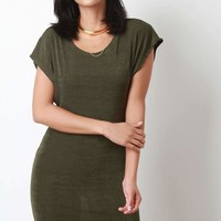 Lightweight Textured Knit Short Sleeve Mini Dress