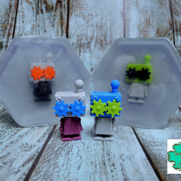 Robot soap bar - Stock Limited, Last of Their Kind - Shea Butter soap, Handmade soap, Toy soap, Eraser soap, Kids soap