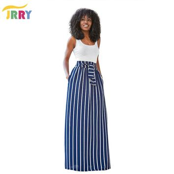 JRRY Casual Two Pieces Striped Women Maxi Dresses White Tank Top Sashes Pockets Long Dress Vestidos