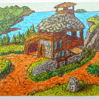 Original aceo cottage drawing- fantasy art collectable landscape card- ink and pencil drawing titled 'Cross-Norths outpost'