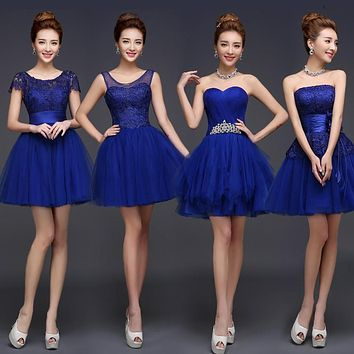 Pretty Fashion 2016 Royal Blue A-Line Short Bridesmaids Dresses ,Purple Champagne ivory cheap Prom dresses and bridesmaid dresse
