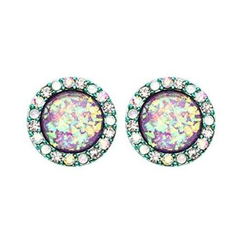 Teal Round Crown Opal Jeweled Combo WildKlass Ear Stud Earrings (Teal/Aurora Borealis/Purple)