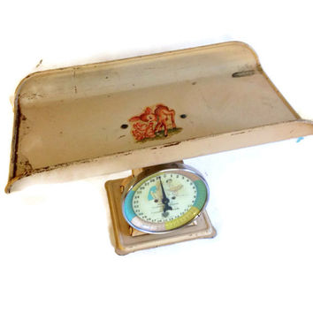 Antique Baby Scale, 1950's, Paragon, 30 Lb. Capacity, Yellow, Pink and Blue, Vintage Baby Scale, Doctor's Office, Baby Nursery Scale