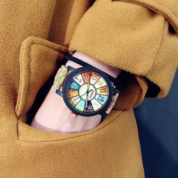 New colorful Fashion trend female Middle school student watches Personality wood grain creative forest Wrist Watch