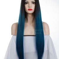 Black Ombre Blue Long Synthetic Lace Front Wig SNY080 - SYNTHETIC WIGS - DonaLoveHair