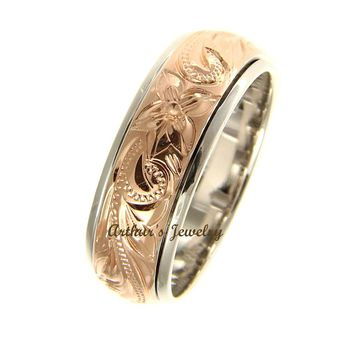 STERLING SILVER 925 HAWAIIAN PLUMERIA SCROLL PINK ROSE GOLD PLATED 2 TONE SPIN RING