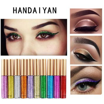 Brand 10 Colors Bright Flashing Eye Liner Quick To Dry Waterproof Glitter Eyeshadow Liquid Eyeliner Beauty Makeup