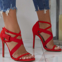 The new high heel sandals come with a plastic buckle and cross woven strap